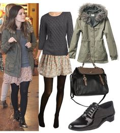 Rachel Bilson, slouchy sweater and short flowy skirt