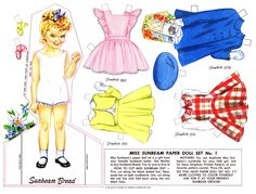 Vintage Miss Sunbeam Paper Doll Set 1950's - Miss Sunbeam's paper doll set was given as a free gift from Sunbeam bread bakers. Mother's could also duplicate Miss Sunbeam's wardrobe for her little girls by using the Simplicity patterns as noted by each outfit.