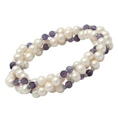 Bestellen Sie Ihr Armband aus Süßwasserperlen mit Amethysten bei The Jeweller. #pearls #brecelet #armband #perlen #amethyst
