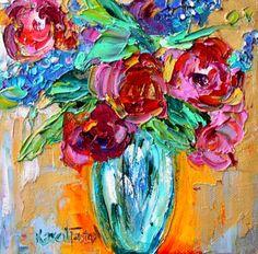 Original Spring flowers 6x6 palette knife painting impressionism oil on canvas fine art by Karen Tarlton