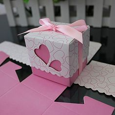 Crazy Genie 50pcs Hollow Out Love Heart Bowknot Pattern Wedding Favor Boxes Souvenir Candy Box Baby Shower Gift Box Chocolate Box for Wedding Party Supplies Pink -- Click on the image for additional details.