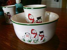 Fiesta® Snowman Family Tumbler and Gusto Bowl made by Homer Laughlin China Company   eBay