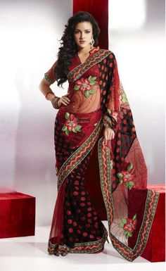 Black and Red Brasso and Net Festival Saree 16450 With Unstitched Blouse