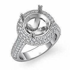 Diamond Engagement Ring Halo Pave Setting 14k White Gold Round Semi Mount 1.5Ct