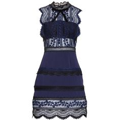 Women's Self-Portrait Bellis Lace Dress ($475) ❤ liked on Polyvore featuring dresses, blue, blue a line dress, blue floral dress, blue lace cocktail dress, see through dress and a line dress