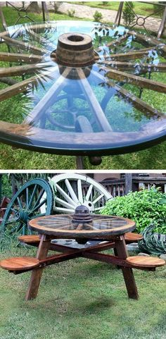 Rustic wagon wheel wood picnic table with tractor seats Outdoor Projects, Wood Projects, Wagon Wheel Table, Wagon Wheel Decor, Wagon Wheel Garden, Outdoor Living, Outdoor Decor, Rustic Outdoor, Outdoor Seating