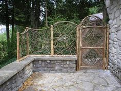 Jami, Driftwood and willow twig furniture  Nancy Bryson  another board  Driftwood    love this twig gate