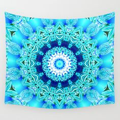 Buy Blue Ice Glass Mandala, Abstract Aqua Lace Wall Tapestry by Diane Clancy's Art. #DianeClancy Worldwide shipping available at Society6.com. Just one of millions of high quality products available.
