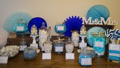 Candybar blue/white Wedding Blue White Weddings, Blue And White, Candy, Bar, Table Decorations, Home Decor, Decoration Home, Room Decor, Candles