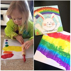 Here's a unique painting idea ~ get out your little rolling pins from the play kitchen! ;)Take a piece of card stock paper and add a dot of paint for each color of the rainbow. Cover with plastic wrap and let your little one roll their rolling pin from one side to the other! Fabulous …