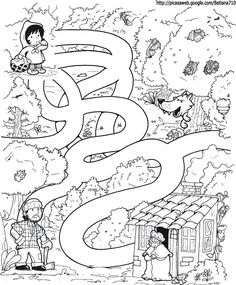 Little red riding hood story and activity page Fairy Tale Activities, Preschool Activities, Mazes For Kids, Art For Kids, Fairy Tale Theme, Fairy Tales, Colouring Pages, Coloring Pages For Kids, Maze Worksheet