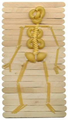 Body Unit Study Art Projects for Kids: Halloween Pasta Skeleton - this would also be good for the skeleton & bones part of our science / human body chapter! School Projects, Projects For Kids, Art Projects, Craft Stick Crafts, Crafts For Kids, Craft Sticks, Popsicle Sticks, Craft Ideas, Skeleton Art