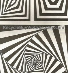 vintage 1970's optic illusion pattern art print book plate black & white pop art design retro home decor mod geometric picture wall 49 50 by RecycleBuyVintage on Etsy