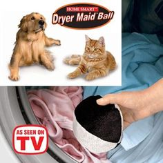 Dryer Maid™ Ball removes pet hair from laundry