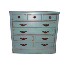 SOLD!   Look for more distressed Spaces1020 pieces at https://www.etsy.com/shop/Spaces1020  Ethan Allen Vintage Blue DistressedChest #huntersalley