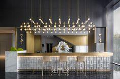Sales Office, Shops, Restaurant Interior Design, Cafe Bar, Restaurant Bar, Reception, Chandelier, Ceiling Lights, Lighting