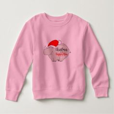 Christmas Pink Rhino Cute Simple Girly Chic Trendy Sweatshirt - girly gifts special unique gift idea custom