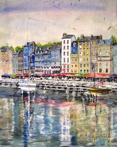 Honfleur Harbour France Painting by Bev Morgan