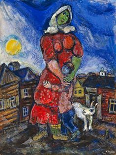 Marc Chagall (1887-1985) Mother and Child Gouache and pastel