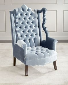 Isabella+Tufted+Velvet+Cut-Out+Wing+Chair+by+Haute+House+at+Horchow.