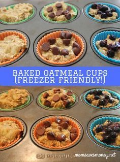 Make these baked oatmeal cups to make breakfast easy, quick, and filling! Baked Oatmeal Cups - Freezer Friendly Baked Oatmeal Cups - No added sugar in basic recipe. Add in your favorite mix-in, like chocolate chips, fruit or peanut butter to customize! How To Make Breakfast, Breakfast For Kids, Quick And Easy Breakfast, Baked Oatmeal Cups, Oatmeal Bars, Breakfast Cups, Breakfast Recipes, Freezer Cooking, Freezer Desserts