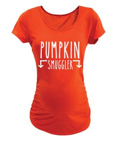 Look at this Orange 'Pumpkin Smuggler' Maternity Scoop Neck Tee on #zulily today!