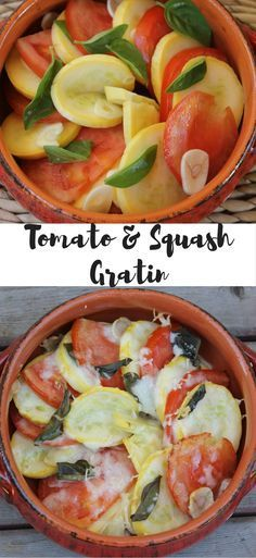 This Tomato & Squash Gratin is the perfect easy and healthy summer side dish! It's even 21 Day Fix friendly and can be prepped ahead of time! So delicious! I'm making this again and trying it with all different veggies combinations!