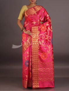 Suvitha Bold Bel Flowers Mat Weave Border Pure Tussar Silk Saree