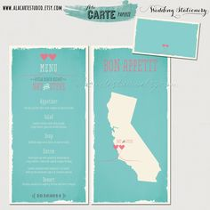 State Love Wedding Menu Card - Map Wedding Menu. $20.00, via Etsy.