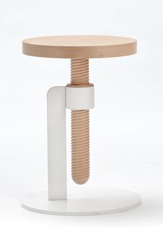 Avvitamenti, a furniture collection by Carlo Contin that uses over-sized wooden screw-like dowels to attach each of the pieces together. Memories of his father, a great carpenter and cabinet maker, who used self clamping screws for self-produced woodwork influenced the final outcome of contin's project. The structural system shows a repeatable pattern that conceives a variety of household items; from tables to desk lamps, the series of objects thrive on the action of screwing.