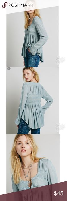 "Free People Large Peasant Top Like new condition Free People Smocked Peasant Top size Large, 27"" Length and 22""Bust. Super gorgeous in person, bought on here and it's to large for me.. :( just asking what I gave for it. Great details.. Free People Tops Blouses"