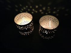 Pair of Tin Can Lanterns by LuminousTinLanterns on Etsy, $8.50 Tin Can Lanterns, Bell Tent, Wall Lights, Canning, Etsy, Decor, Handmade, Hands, Weddings