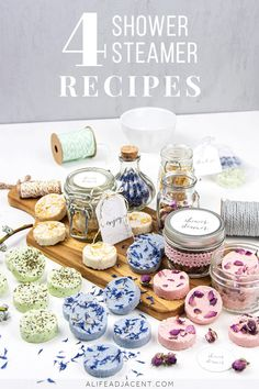 Aromatherapy DIY Shower Steamers with Essential Oils Learn how to make easy DIY shower steamers! These homemade shower melts contain herbs, flowers and essential oils for aromatherapy. Discover 4 different recipes: energizing and uplifting. Bath Bomb Recipes, Soap Recipes, Shower Bombs, Bath Bombs, Natural Beauty Recipes, Steamer Recipes, Shower Steamers, Diy Shower, Home Made Soap