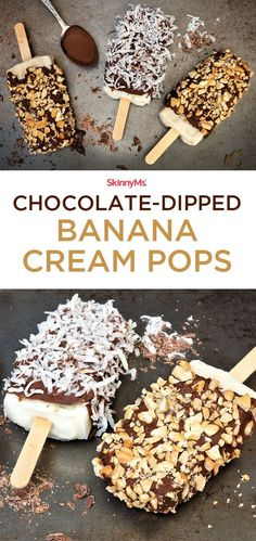 Weve taken Chocolate-Dipped Banana Cream Pops to a whole new, flavorful level. The perfect summer treat! Sugar Free Desserts, Frozen Desserts, Frozen Treats, Easy Desserts, Delicious Desserts, Dessert Recipes, Yummy Food, Paleo Sweets, Healthy Treats