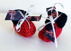 -Texas Tech University RED RAIDERS Handmade Baby Booties #TexasTechRedRaiders