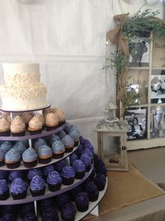 Romantic Rustic Ivory Purple Buttercream Country Cupcakes Fall Round Wedding Cake Wedding Cakes Photos & Pictures - WeddingWire.com