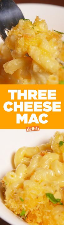 This Three Cheese Mac is the only mac & cheese recipe you'll ever need. Get the recipe from Delish.com.