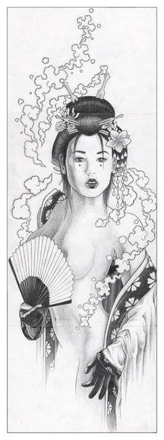 Geisha. Femme. Dessin. Eventail. Japonais.