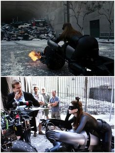 The scene atop with Christopher Nolan giving Anne direction below.