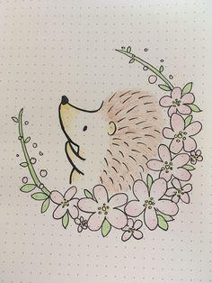 Bullet journal hedgehog drawing doodle Bullet Journal Ideas Templates, Bullet Journal Ideas Pages, Happy Doodles, Cute Doodles, Doodle Lettering, Creative Lettering, Hedgehog Drawing, Cute Crafts, Art Sketchbook