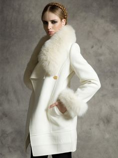 White Longline Wool Coat with Faux Fox Fur Collar and Cuffs