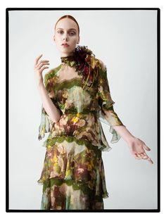 Kiki Willems wears floral print gown in Alberta Ferretti's fall-winter 2017 campaign