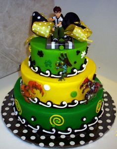 ben 10 cake by themecakesbytraci Ben 10 Cake   Two tier Tutorial
