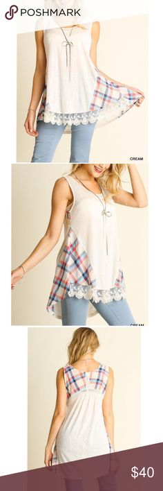 """ARRIVAL! Sleeveless top with plaid lace detail Model is 5'7"""" and wearing a small. Material: 65% cotton,35% polyester. Pink Peplum Boutique Tops"""