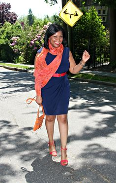 What I Wore: Navy Blue Sheath Dress and Camilla Olson Scarf