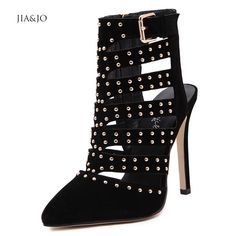 Women Autumn Boots Leather Sexy 12cm Pointed Toe High Heels Shoes Black Suede Punk Rivets Slingbacks Cut-Out Ankle Boots 13338