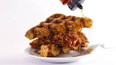 Rachael's Cornflake-Fried Chicken and Waffles with Pecans Recipe