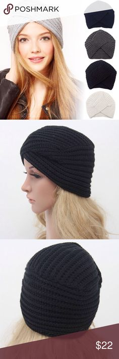 🆕 BLACK MODERN TURBAN BEANIE 🆕 Black modern turban beanie. Stay warm while being ever so chic. Modern take on turban wear. Imported. Bundles/offers welcome, no trades or holds. My environment is clean organized/pet/smoke free. Please feel free to make any inquires, all sales are final on PM. Thank you for shopping my boutique. #poshstyle DARLING Accessories Hats
