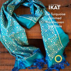 Subtle patterns of tradition adorn this masterpiece. Kritika creates this Turquoise Blue ikat stole  in handwoven silk for men to carry off in style.