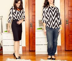 """Everly Dellora 3/4 sleeve zig zag blouse    Love the bold pattern!  Not sure if the """"flowy"""" cut over the torso would be flattering, though."""